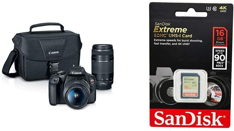 EOS REBEL T7 EF18-55mm + EF 75-300mm Double Zoom KIT and SanDisk 16GB Extreme SDHC UHS-I Memory Card
