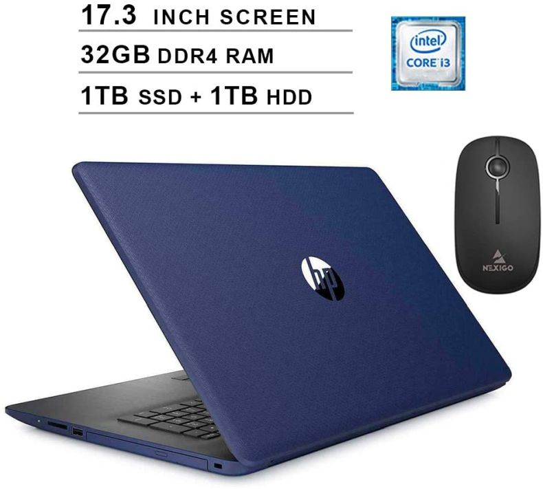 2020 HP Pavilion 17.3 Inch Laptop, Intel Core i3-8145U up to 3.9 GHz, 32GB RAM, 1TB SSD (Boot) + 1TB HDD, DVD, WiFi, HDMI, Windows 10, Blue + NexiGo Wireless Mouse Bundle