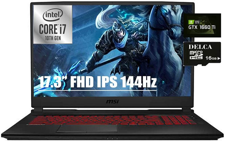 "MSI GL75 Leopard Gaming Laptop I 17.3"" FHD IPS 144Hz 3ms 100% sRGB I Intel Hexa-Core i7-10750H I 16GB DDR4 256GB SSD 1TB HDD I 6GB GTX 1660Ti Backlit Webcam Win 10 + Delca 16GB Micro SD Card"