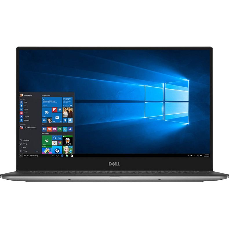 "Dell XPS 13 9360 Laptop - 13.3"" Anti-Glare InfinityEdge TouchScreen FHD (1920x1080), Intel Core i5-7200U, 256GB NVME PCIe M.2 SSD, 8GB RAM, Backlit Keyboard, Windows 10 - Silver"