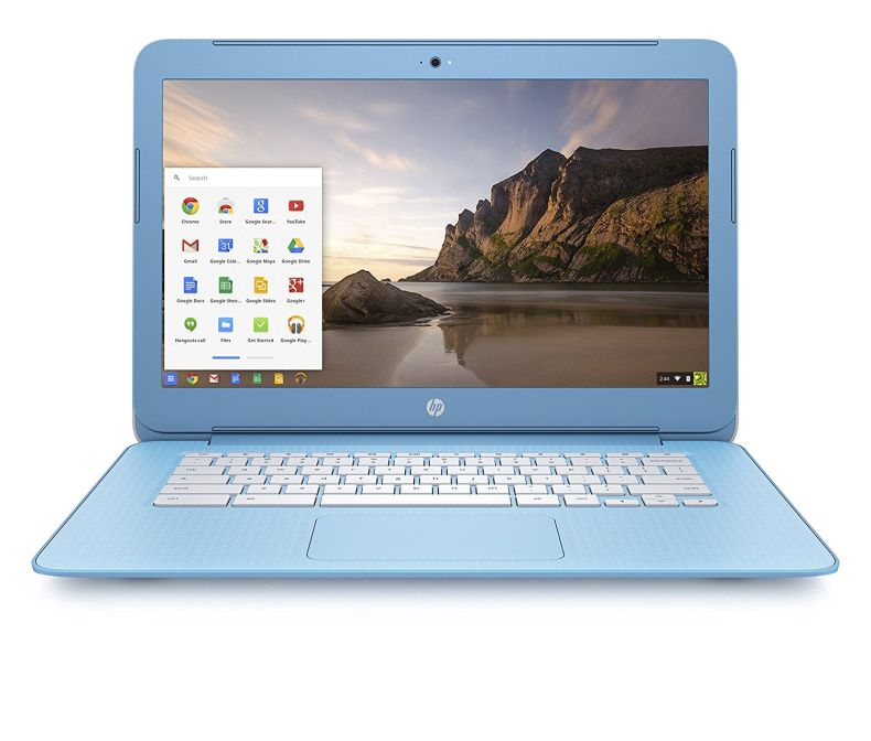 HP Chromebook 14-inch Laptop, Intel Celeron N2840, 4GB RAM, 16GB eMMC, Chrome (14-ak030nr, Blue/White)