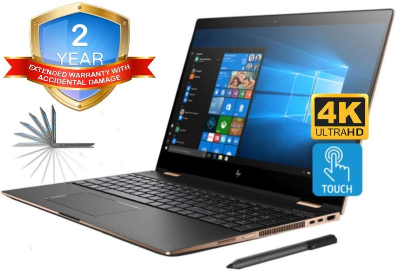 """HP Spectre x360 15t 4K UHD Convertible 2-in-1 Laptop (Intel 8th Gen i7-8705G, 32GB RAM, 2TB PCIe SSD, 15.6"""" Touch UHD 3840x2160, Radeon RX Vega M, Win10 Pro) Two Year Warranty and Accidential Damage"""