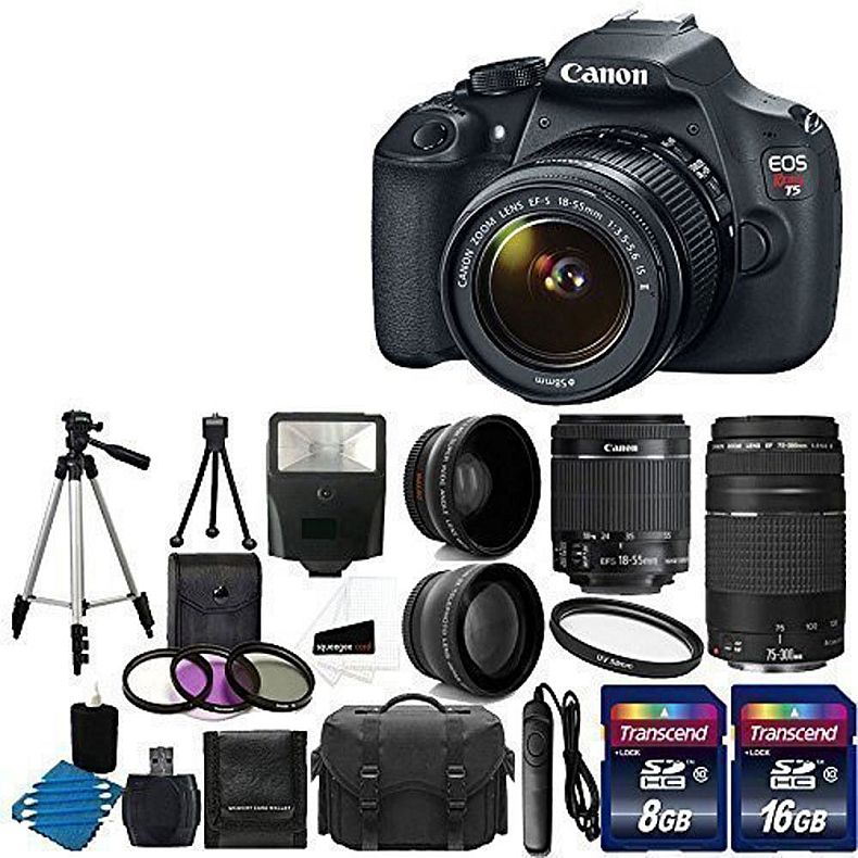 Canon EOS Rebel T5 Digital SLR + canon EF-S 18-55mm f/3.5-5.6 IS & EF 75-300mm f/4-5.6 III Lens + 58mm 2x Lens + Wide Angle Lens + Auto Power Flash + UV Filter Kit + 24GB SDHC card + Accessory Bundle