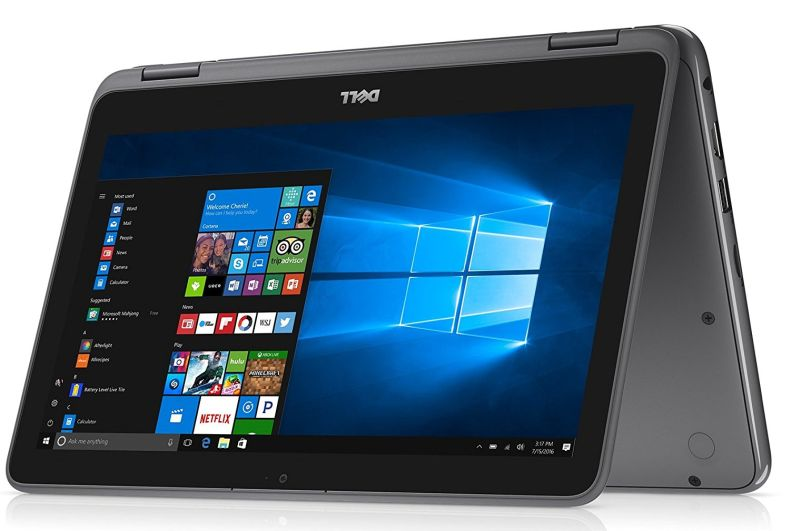Dell Inspiron 11.6-inch 2-in-1 Touchscreen Laptop PC AMD A6-9220e up to 2.4GHz Processor, 4GB DDR4, 32GB eMMC, MaxxAudio, HDMI, Bluetooth, Webcam, WiFi, Windows 10, Customize Color SD Size