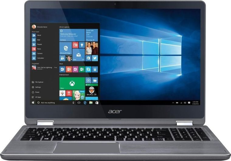 "Acer - Aspire R 15 2-in-1 15.6"" Full HD 10-point Multitouch Screen Laptop - Intel Dual-Core i7 - 12GB Memory - NVIDIA GeForce 940MX - 1TB Hard Drive - Windows 10 - Steel gray"