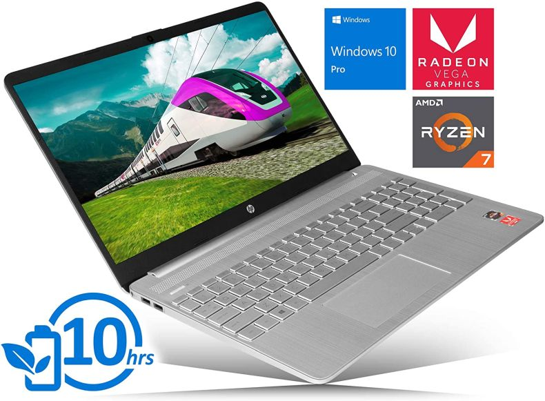 "HP 15 Laptop, 15.6"" HD Touch Display, AMD Ryzen 7 3700U Upto 4.0GHz, 32GB RAM, 1TB NVMe SSD, Vega 10, HDMI, Card Reader, Wi-Fi, Bluetooth, Windows 10 Pro"