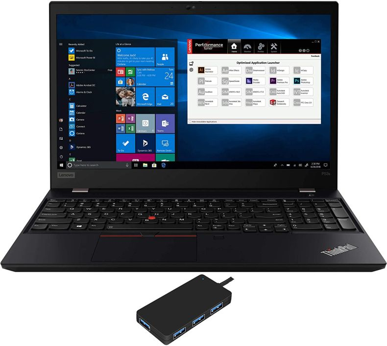 "Lenovo ThinkPad P53s Workstation Laptop (Intel i7-8565U 4-Core, 16GB RAM, 256GB PCIe SSD, Quadro P520, 15.6"" Full HD (1920x1080), Fingerprint, WiFi, Bluetooth, Webcam, Win 10 Pro) with USB3.0 Hub"