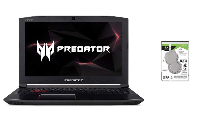"Acer Predator Helios 300 Gaming Laptop, 15.6"" FHD IPS w/ 144Hz, i7-8750H, GTX 1060 6GB, 16GB, 256GB NVMe SSD & Seagate 2TB BarraCuda SATA 6Gb/s 128MB Cache 2.5-Inch 7mm Internal Hard Drive Bundle"