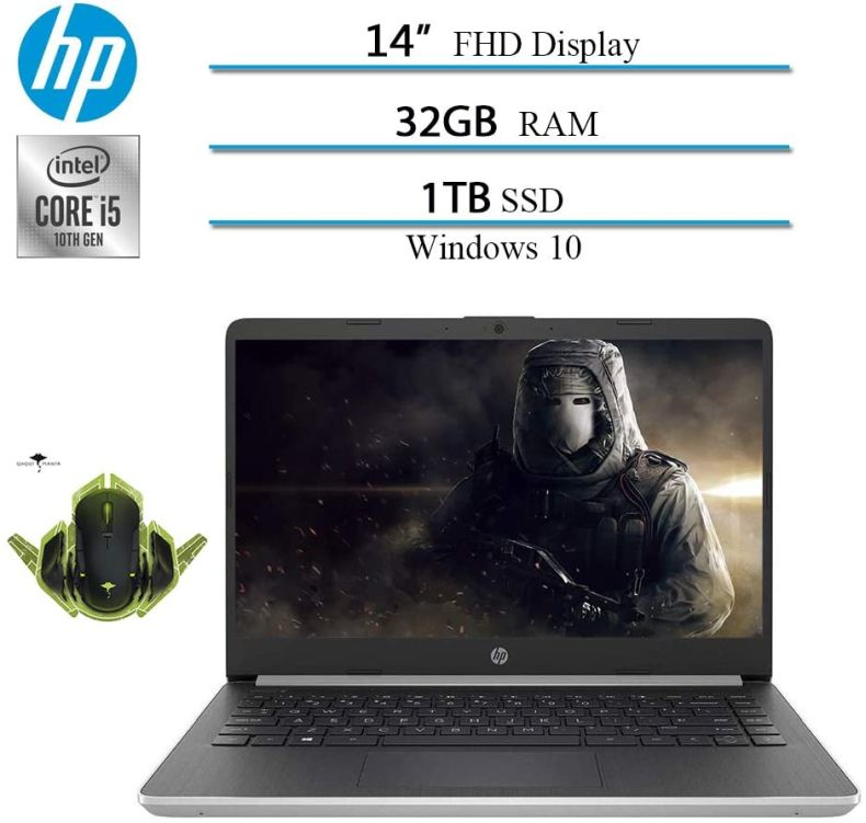 "Newest 2020 HP 14"" Premium FHD IPS Laptop Notebook Computer, 10th Gen i5-1035G4 (up to 3.7GHz), 32GB RAM, 1TB SSD, HDMI, WiFi, Bluetooth, Windows 10 W/ Ghost Manta Gaming Mouse"