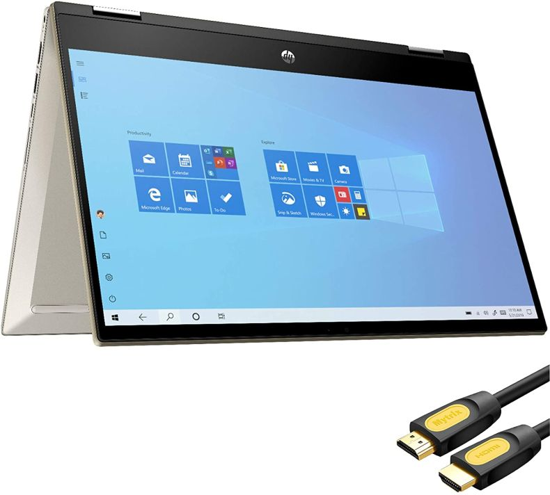 """HP Pavilion x360 2 in 1 Touchscreen Laptop, 14"""" IPS FHD, 11th Gen Intel Core i5-1135G7 up to 4.20 GHz, Iris Xe Graphics, 24GB RAM, 512GB SSD, Backlit, FP Reader, USB-C, Mytrix HDMI Cable, Win 10"""