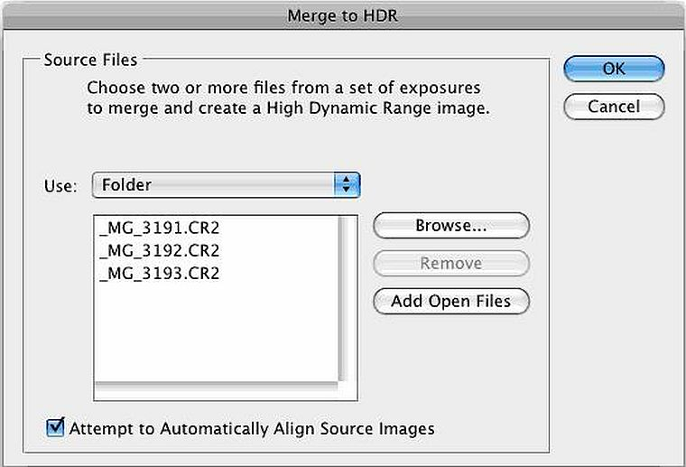 Merging HDR in Photoshop
