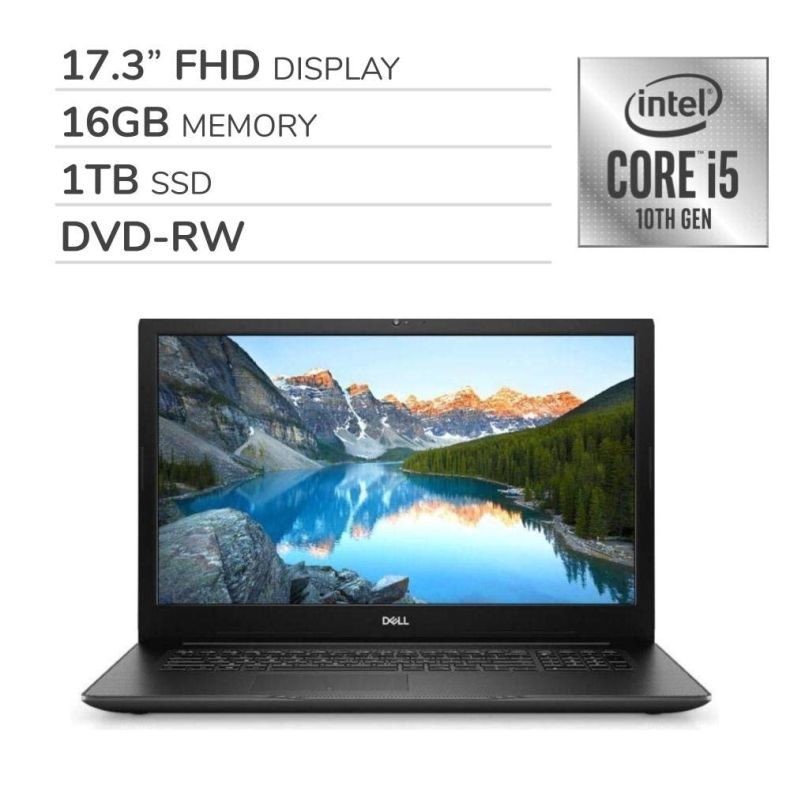 "Dell Inspiron 17 3793 2020 Premium 17.3"" FHD Laptop Notebook Computer, 10th Gen 4-Core Intel Core i5-1035G1 1.0 GHz, 16GB RAM, 1TB SSD, DVD,Webcam,Bluetooth,Wi-Fi,HDMI, Win 10 Home"