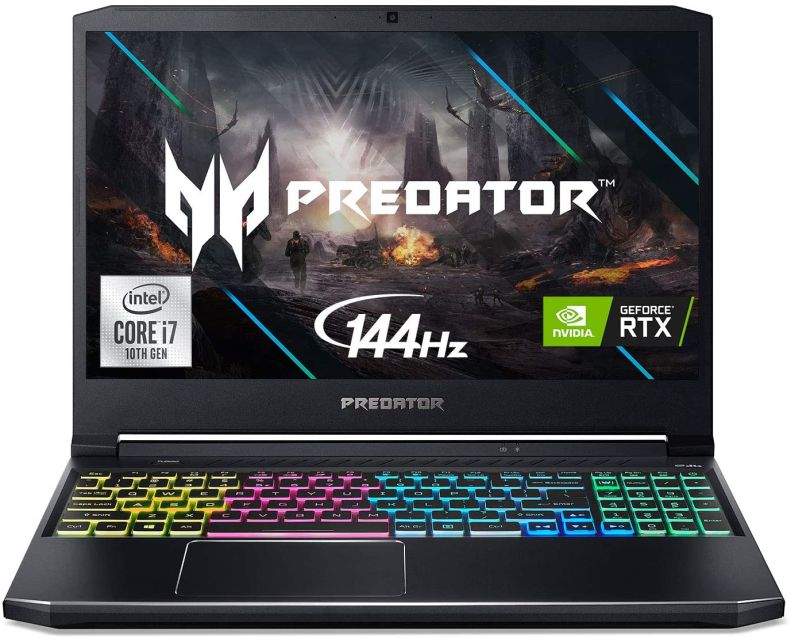 "Acer Predator Helios 300 Gaming Laptop, Intel i7-10750H, NVIDIA GeForce RTX 2060 6GB, 15.6"" Full HD 144Hz 3ms IPS Display, 16GB Dual-Channel DDR4, 512GB NVMe SSD, Wi-Fi 6, RGB Keyboard, PH315-53-72XD"