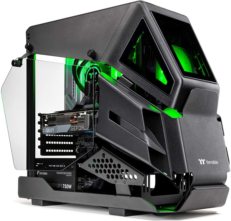 Thermaltake LCGS AH-380 AIO Liquid Cooled CPU Gaming PC (AMD RYZEN 5 3600XT 6-core, ToughRam DDR4 3600Mhz 16GB RGB Memory, RTX 3080 10GB, 1TB M.2, Win 10 Home) AHT2-B550-A38-LCS