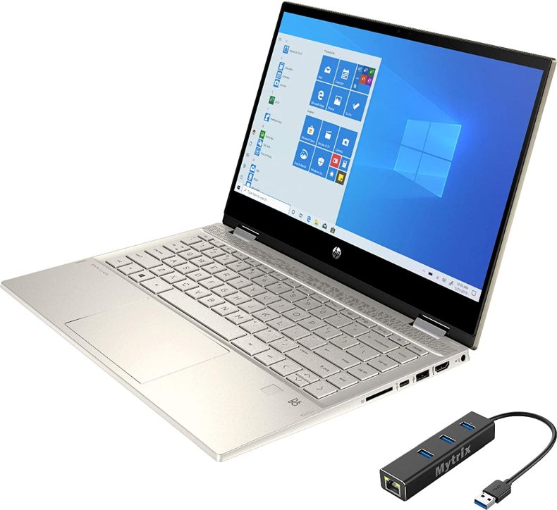 """HP Pavilion x360 2 in 1 Touchscreen Laptop, 14"""" IPS FHD, 11th Gen Intel Core i5-1135G7 up to 4.20 GHz, Iris Xe Graphics, 24GB RAM, 1TB SSD, Backlit, FP Reader, USB-C, Mytrix Ethernet Hub, Win 10"""