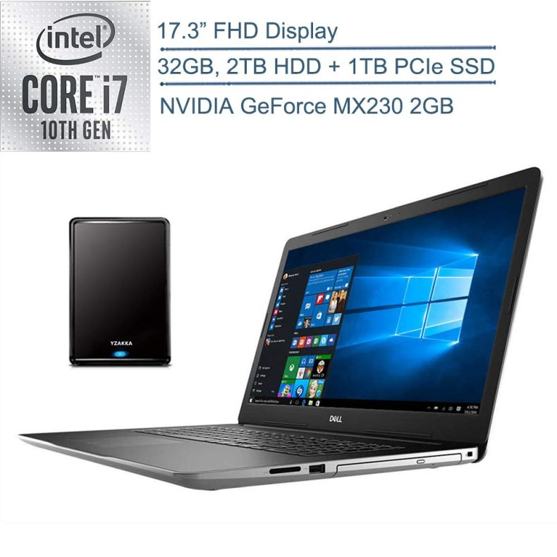 "2020 Dell Inspiron 17.3"" FHD Laptop Computer, 10th Gen Intel Quad-Core i7 1065G7, 32GB DDR4 RAM, 2TB HDD + 1TB PCIe SSD, DVDRW, NVIDIA GeForce MX230 2GB, Windows 10, YZAKKA 500GB External Hard Drive"