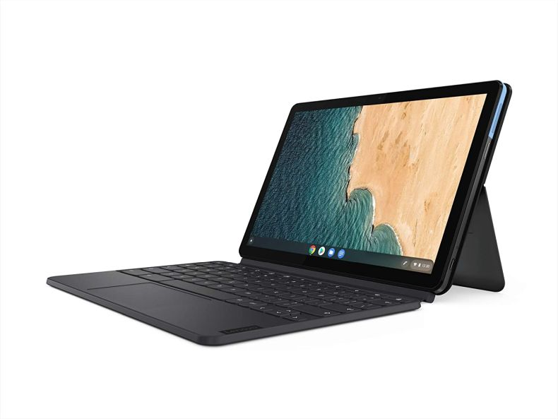 "Lenovo Chromebook Duet, 2-in-1, 10.1"" WUXGA (1920 x 1200) Display, MediaTek Helio P60T, 4GB LPDDR4X RAM, 64GB eMCP SSD, Integrated ARM G72 MP3 Graphics, Chrome OS, ZA6F0031US, Ice Blue + Iron Grey"