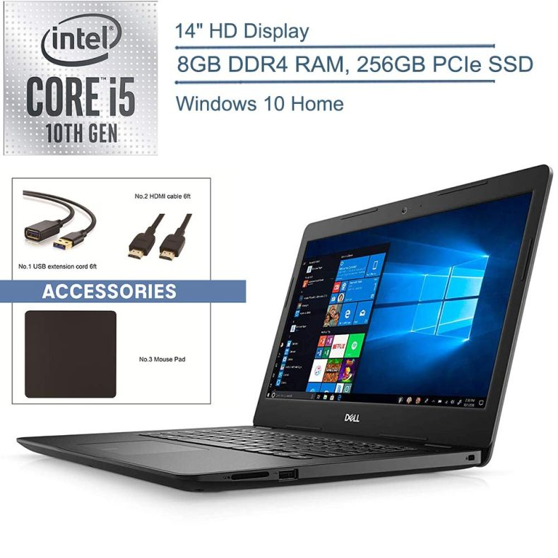 "2020 Dell Inspiron 14 14"" Laptop Computer, 10th Gen Intel Quad-Core i5 1035G4 Up to 3.7GHz (Beats i7-7500u), 8GB DDR4 RAM, 256GB PCIe SSD, 802.11ac WiFi, Bluetooth 4.1, Windows 10, YZAKKA Accessories"
