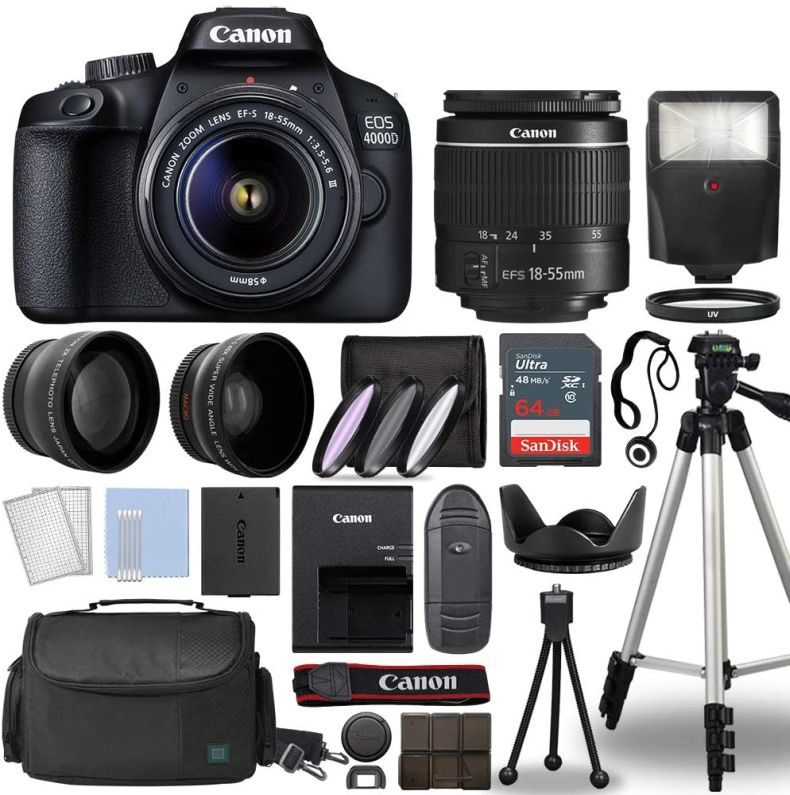 Canon EOS 4000D / Rebel T100 Digital SLR Camera Body w/Canon EF-S 18-55mm f/3.5-5.6 Lens 3 Lens DSLR Kit Bundled with Complete Accessory Bundle + 64GB + Flash + Case & More - International Mode