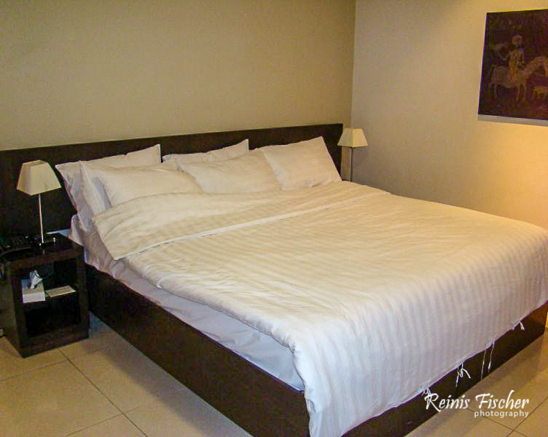 King size bed at hotel Meg in Yerevan
