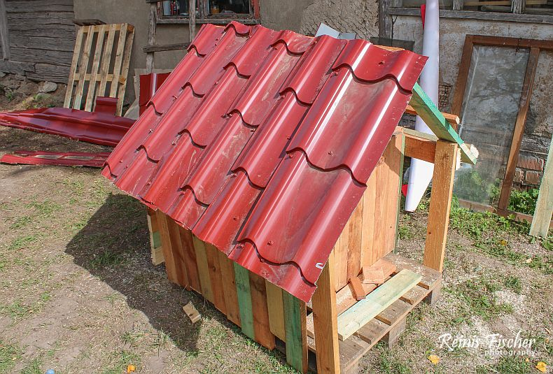 Roofing for doghouse