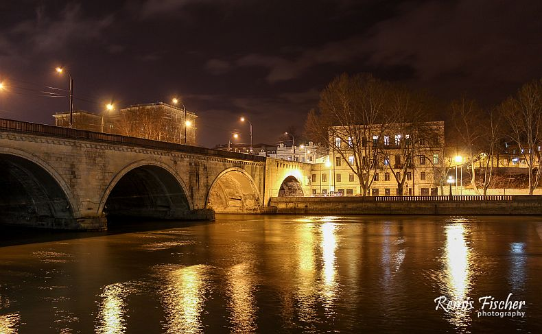 One of the many Tbilisi bridges in night