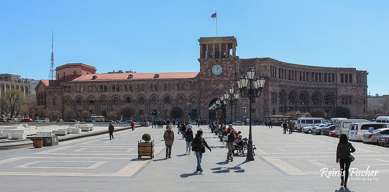 General view of the Republic Square in Yerevan