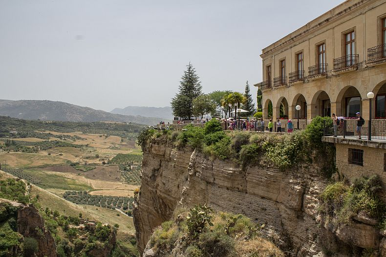 Tourists gathering at Ronda Bridge