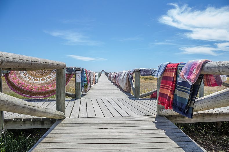 Wooden deck to the beaches