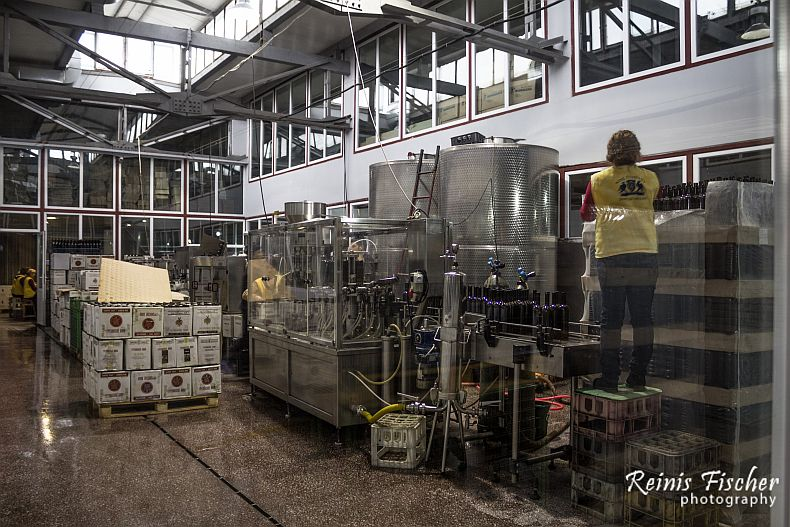 Bottling process at winery