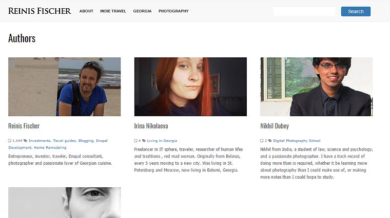 Authors overview page on Drupal