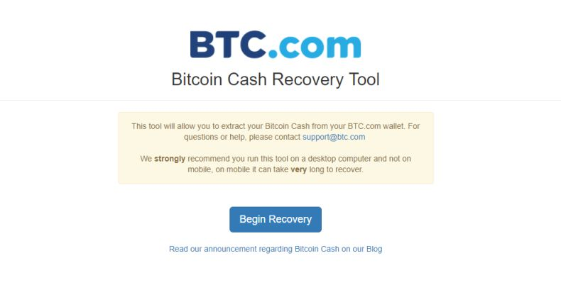 Bitcoin Cash Recovery Tool