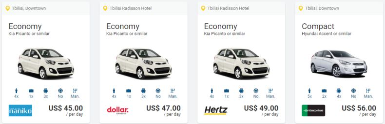 Cheapest rental cars in Tbilisi