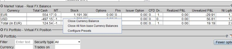 Close currency balance