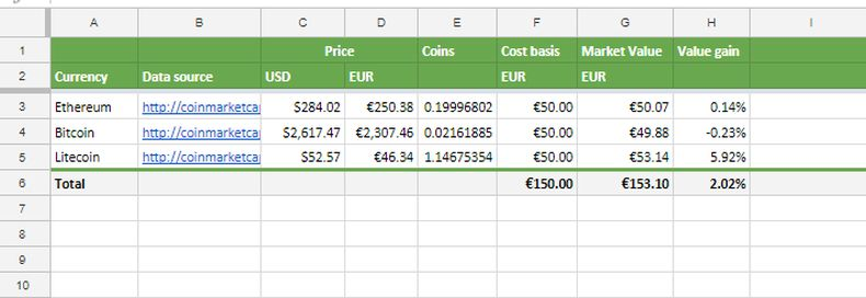Tracking crypto currency portfolio with Google Spreadsheets