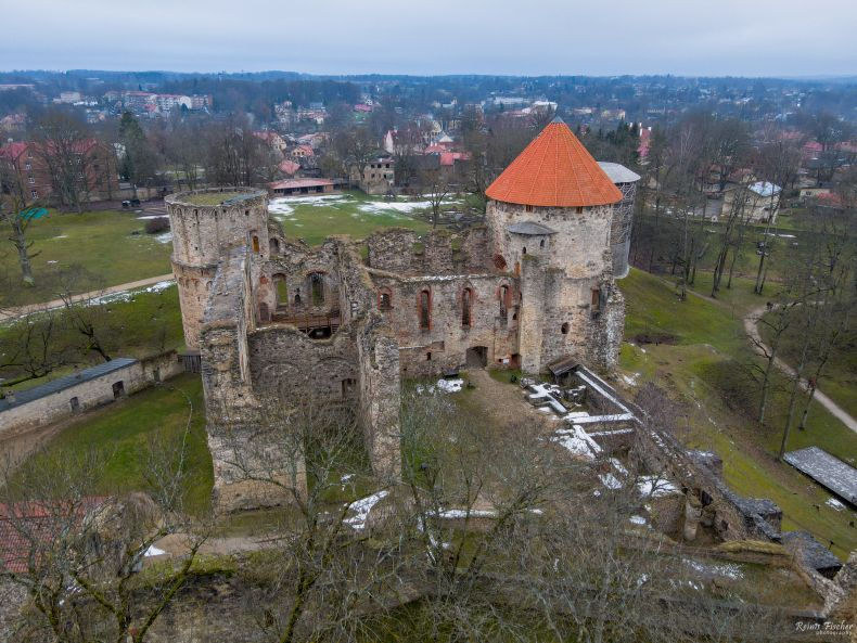 Cēsis Castle from a drone flight