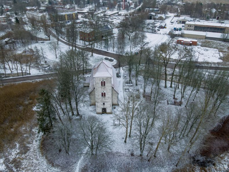 Pitlene church from a drone flight