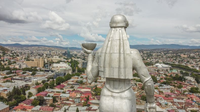 Mother Georgia overlooking the capital city Tbilisi