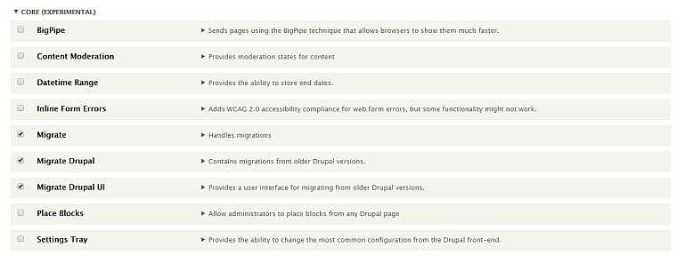 Modules to enable to migrate Drupal 7 to 8
