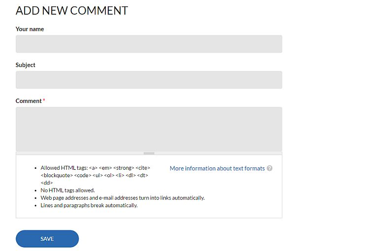 Default Drupal Comment form