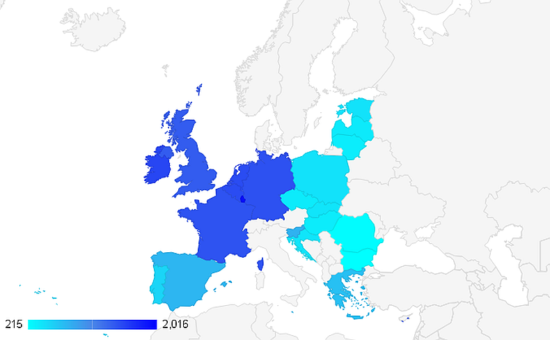 Map of minimum wages in EU 2016
