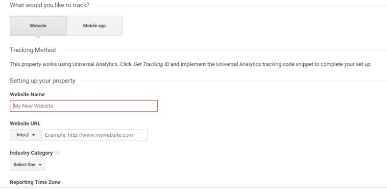 Creating a new property in Google Analytics