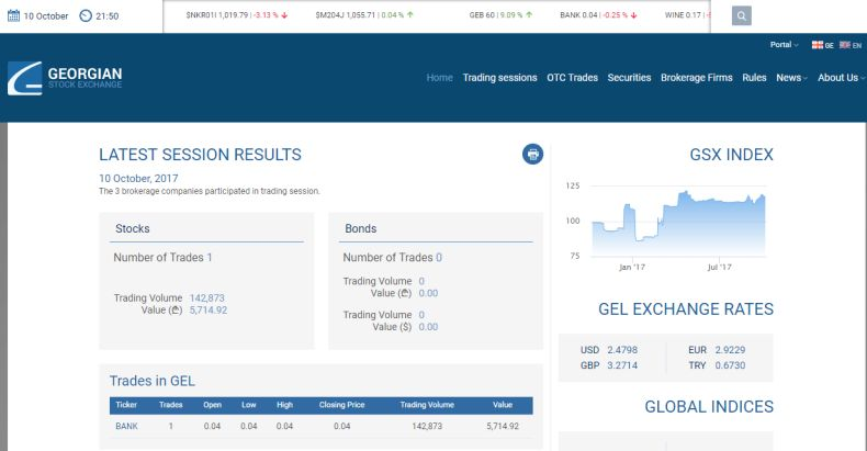 Screenshot of Georgian Stock Exchange website