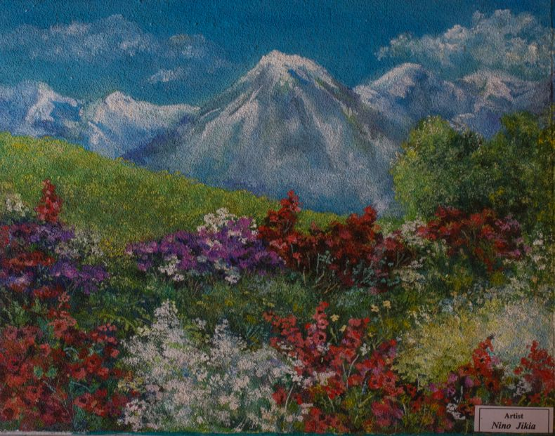 Painting of mountain by Nino Jikia