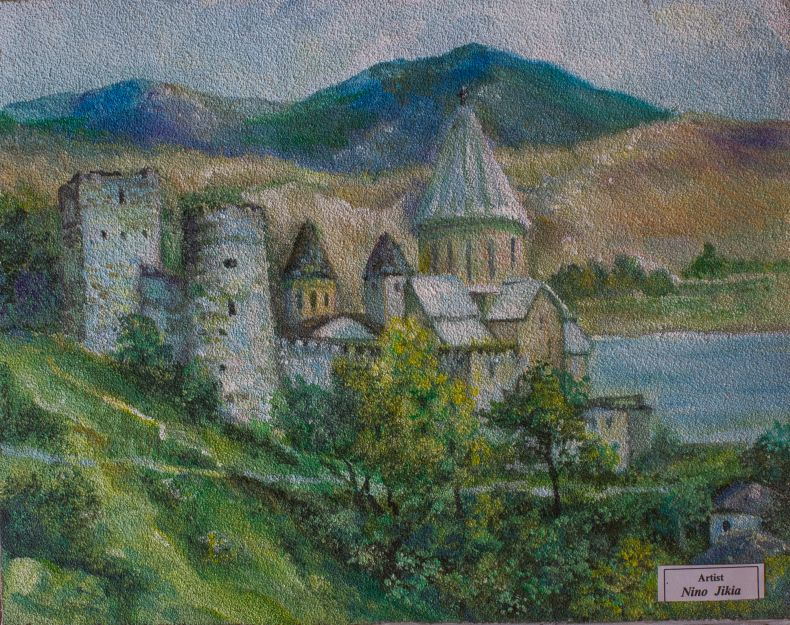 Painting of Ananuri complex in Georgia by Nino Jikia