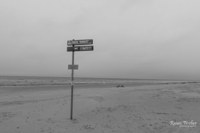 Lonely sign at Jurmala beach in Latvia