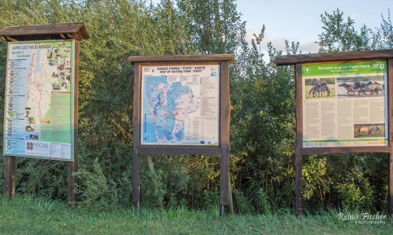 Information desks at Pape nature reserve