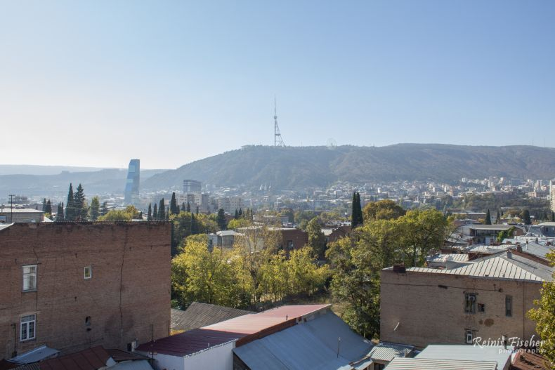 View towards mount Mtatsminda and TV tower in Tbilisi