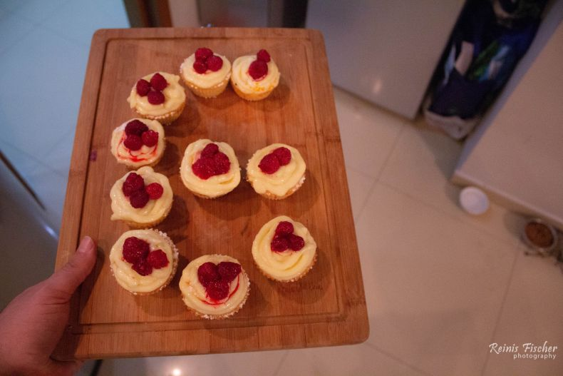 Lemon / raspberry cupcakes to celebrate baby girls 6-month anniversary