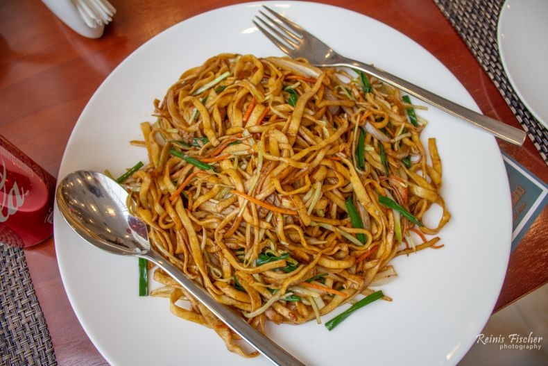 Noodles at Ensemble Chinese restaurant in Tbilisi